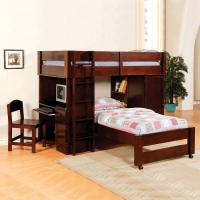 110LB Collection Twin over Twin Loft Bed - Finish: Dark Cherry<br><br>Available in Oak Finish<br><br>Dimensions: 79 1/2