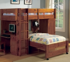 005TLB Twin/Twin Loft Bed - All-in one Design<br><br>Multiple Storage<br><br>Built-in Desk & Chair<br><br>13 Pc. Slats Top & Bottom<Br><br>