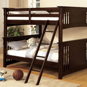 010FF Full/Full Bunk Bed - Available in Twin XL/Queen, Twin/Twin & Twin/Full<br><Br>Mission Style<br><br>Angled Ladder<br><br>10 Pc. Slats Top & Bottom<br><Br>Extra Safety Insert & Lock Joint Structure<br><br>
