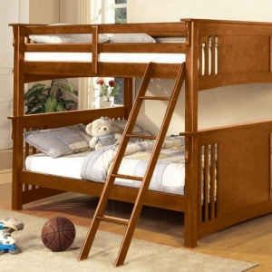 Item # 009FF Full/Full Bunk Bed - Available in Twin XL/Queen, Twin/Twin & Twin/Full<br><Br>Mission Style<br><Br>Angled Ladder<br><Br>10 Pc. Slats Top & Bottom<br><br>Extra Safety Insert & Lock Joint Structure<br><br>