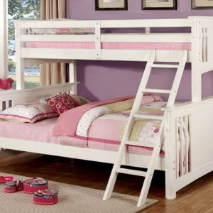 Item # 018QB White Twin XI/ Queen Bunk Bed - Available in Twin/Twin, Twin/Full & Full/Full<br><br>Mission Style<Br><br>Angled Ladder<br><br>10 Pc. Slats Top & Bottom<br><br>Extra Safety Insert & Lock Joint Structure<br><br>