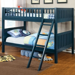 Item# A0018TT - Finish: Dark Blue<br>Upper Bed Clearance: 31H<br>Dimensions: 79 1/2
