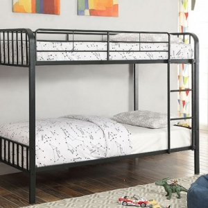 Item # A0055MBB - Finish: Black<br><br>Twin Over Twin Bunk Bed<br><br>Dimensions: 79