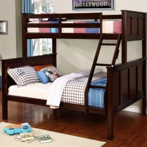 Item # 030QB Twin/Queen Bunk Bed - Available in Twin/Twin, Twin/Full & Full/Full<br><br>Contemporary Style<br><br>Angled Ladder<br><br>Top & Bottom Slat Kit Included<br><br>Extra Safety Insert & Lock Joint Structure<br><br>