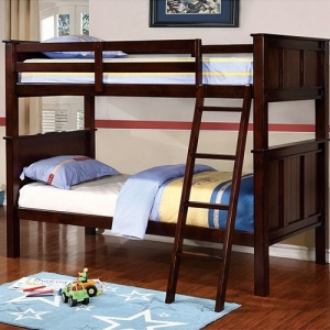 Item # 007FF Full/Full Bunk Bed - Available in Twin/Twin, Twin/Full & Twin/Queen Sizes<br><br>Contemporary Style<br><br>Angled Ladder<br><br>Top & Bottom Slat Kit Included<br><br>Extra Strength Insert & Lock Joint Structure<br><br>