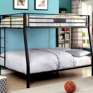 Item # 007QB Full Over Queen Bunk Bed - Contemporary Style<br><Br>Full Metal Construction<br><Br>Extra Support Leg <br><Br>Attached Ladder<br><br>22 Pc. Slats Top & Bottom<br><br>