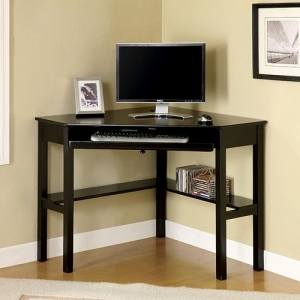 Item # A0044D - Simple and sleek, this basic corner computer desk has open shelving for media storage and a hidden pullout keyboard tray for computer use<br><Br>