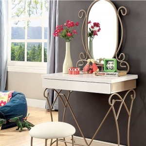 021V Vanity Set W/ Stool - Sturdy and Durable Metal Construction<br><Br>Drawer on Vanity<br><br>Smooth and Durable Full Extension Glides<br><br>