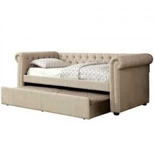 008DB Upholstered Day Bed in Beige - Transitional Style<br><br>Button Tufted<Br><Br>Nailhead Trim<br><br>Curved Arms<br><Br>Solid Wood Framework Wrapped Tightly W/ Warm Linen Fabric<br><br>