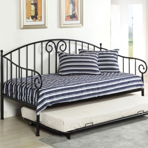 Item # 014MDB Metal Daybed in Black - Transitional Style<br><Br>Metal Daybed<br><Br>Link Spring Included<br><Br>