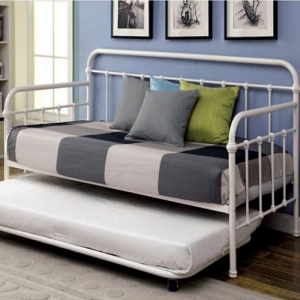 Item # 013MDB Metal Daybed in Vintage White - Contemporary Style<Br><br>Spindle Guard Rails<br><Br>Full Metal Construction<Br><br>Powder Coated Platform Daybed<br><br><b>Optional Trundle</b><br><br>