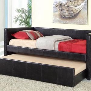 024DB Black Upholstered Daybed W/ Trundle - Cottage Style<br><Br>Leatherette Platform Daybed<br><Br>Twin Trundle Included<Br><br>Slat Kit Included<Br><br>