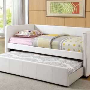 025DB White Daybed W/ Trundle - Cottage Style<br><br>Leatherette Platform Daybed<br><br><b>Twin Trundle Included</b><br><Br>Slat Kit Included<Br><Br>