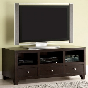 Item # 012MCH Modern TV Console - Complete with three drawers and open shelving for media storage.