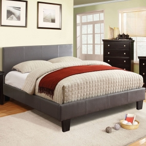 Item # 1071FB Full Grey Leatherette Bed - Contemporary Style<br><Br>Padded Leatherette Platform Bed<br><Br>English Style Headboard<br><br>European Style Slat Kit<br><br>