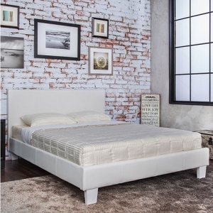 Item # 1072FB Full White Leatherette Bed - Contemporary Style <br><Br>Padded Leatherette Platform Bed<br><br>English Style Headboard<br><Br>European Style Slat Kit<br><Br>
