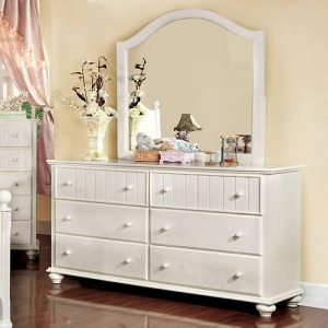 Item # 099DR Dresser - These charming cottage style youth case goods bring the simplistic yet creative details that a child's room needs. This dresser, in a clean white finish, will bring a bright and inviting feeling to any bedroom.<br><br>