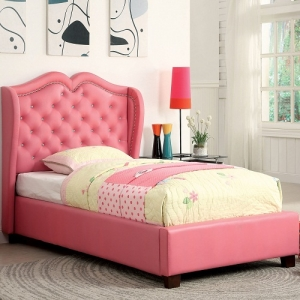 Item # 1051FB Full Padded Leatherette Bed - Finish: Pink<br><br>European Style Slat Kit Included<br><br>Available in Twin Size<br><br>DImensions: 81