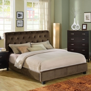 020Q Padded Velvet Queen Bed