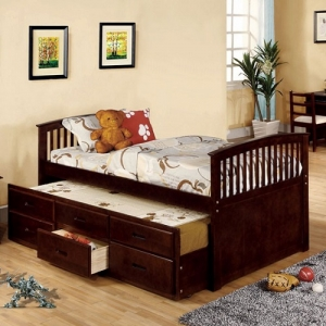 Item # A0017CPT - This Mission style platform bed comes in a twin size trundle plus three roomy drawers providing extra storage.<br><br>