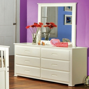 Item # 070DR 6 Drawer Dresser - Stylish yet subtle, this contemporary style dresser is finished in bright white and have unique recessed handles.