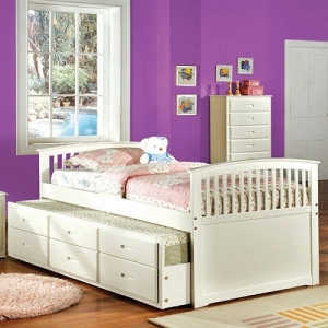 012CB Twin Bed W/ Trundle - This Contemporary style trundle bed which features a picket fence style headboard and footboard with extra storage in the form three drawers underneath the trundle<br><Br>