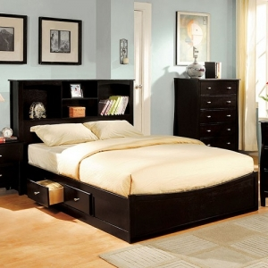 Item # 021Q Queen Bed - Platform Bed<br><Br>Book Case & 4 Drawers<Br><Br>Slat Kit Included