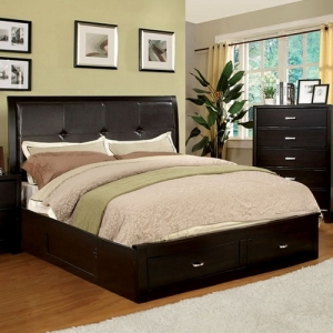 Item # 1078FB Full Padded Leatherette Bed - The sleek modern design of the storage bed with the padded leatherette headboard will be a stand out for any home. <br><Br>Extra storage in the footboard<br><br>