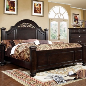 Item # 034Q Queen Bed - Transitional Style<br><br>Oval Headboard w/ Floral Design<br><Br>Sturdy Fluted Bed Posts