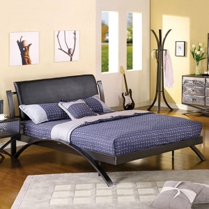 1044TMB Twin Metal Bed  - Contemporary Style<br><br>Padded Leatherette Headboard<br><br>Gun Metal Finish<br><br>X-Brace Design<br><br>