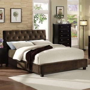Item # 036Q Queen Bed - The low profile platform bed has a richly upholstered dark brown velvet headboard with repeating button tufting.