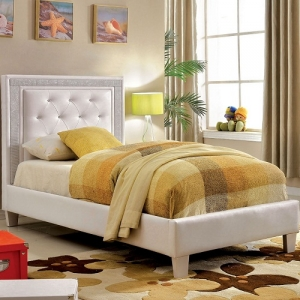 Item # 1043FB Platform Leatherette Bed - Padded Leatherette Platform Bed<br><Br>Crystal-like Acrylic Button Tufting<br><Br>Metallic Mesh Trim<br><br>Slat Kit Included<br><Br>