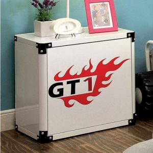 047NS White Night Stand - Gasoline Pump Design<br><br>Magnetic Numbers<br><br>Metal Construction<br><br>
