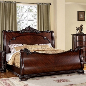 Item # 040Q Queen Sleigh Bed - Luxurious Baroque Style<br><br>Sleigh Bed<br><Br>Intricate Accents