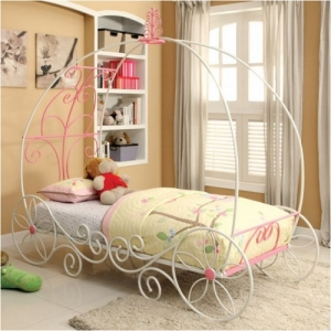 1047TMB Twin Carriage Bed - Meticulously Carved Headboard<br><br>Sturdy Metal Construction<br><Br>Ample Support Mattress Ready<br><br>Floral Accents on Wheel Base<br><br>