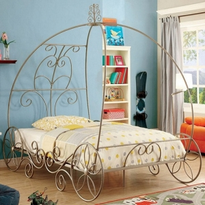 1046TMB Twin Size Carriage Bed - Meticulously Carved Headboard<br><br>Sturdy Metal Construction<br><Br>Floral Accents On Wheel Base<br><br>
