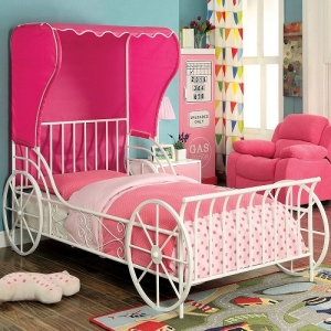 1050FMB Full Size Carriage Bed - Carriage Style<Br><Br>Pink Fabric Wing Back Tent<br><Br>Full Metal Construction<br><br>Powder Coated Platform Bed<br><Br>Slatted H/B & F/B<br><Br>