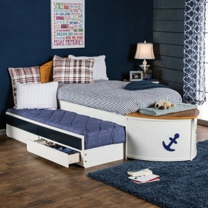Item # 027TB Twin Captain Bed - Boat Design<br><br>Storage in Front Deck<br><br>Trundle & Drawers Included