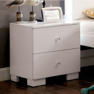 Item # A0043NS - White Nightstand with Metal Glides<br><br>
