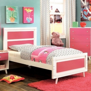 0124T Platform Twin Bed - The duo plank panel headboard showcases gorgeous coloring to pair with the finished drawer fronts. Mid-century inspired angled legs provide the necessary support<br><br>