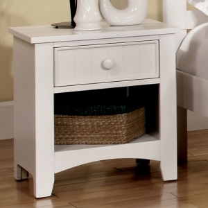 036NS Night Stand - Finish: White<br><br>Center Metal Glides<br><br>Dimensions: 19