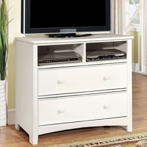 007MCH White Media Chest - Transitional style 2 drawer media chest in White<br><br>