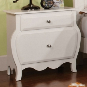036NS White soft Curved Nightstand - Finish: Ivory<br><br>Dimensions: 24 7/8