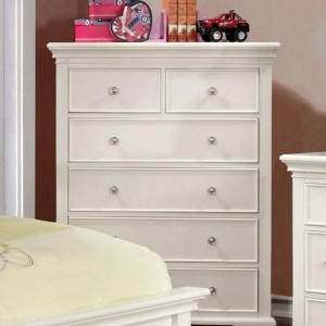 Item # 120CH White 6 Drawer Chest - Transitional Style <br><br>Attractive Molding<br><br> Round Nickel Knobs <br><Br>Bracket Feet<br><br> Solid Wood, Wood Veneer & Others<br><br>
