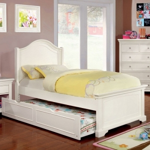 0037TB  Nia French White Twin Low Footboard Bed