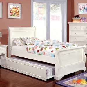 0131T White Twin Sleigh Bed - Transitional Style Sleigh Bed<br><br>Soft Curved Design<br><br>Solid Wood, Wood Veneers & Others*<br><br>Slat Kit Included<br><br>