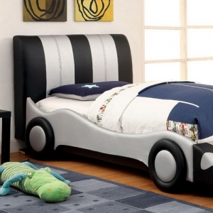 Item # 026TB Twin Race Car Bed - Available in Full Size<br><br>Slat Kit Included<br><br>Padded Leatherette<br><br>Mattress Ready<br><br>Solid Wood<br><br>