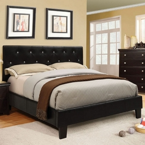 Item # 1045FB Platform Leatherette Twin Bed - Available in Twin Size<br><br>Padded Leatherette Platform Bed<br><Br>Crystal-like Acrylic Button Tufting<br><br>Slat Kit Included<br><Br>