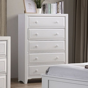 311CH White 5 Drawer Chest - Style Transitional<br> Color/Finish White<br> Hardware Round wooden knobs