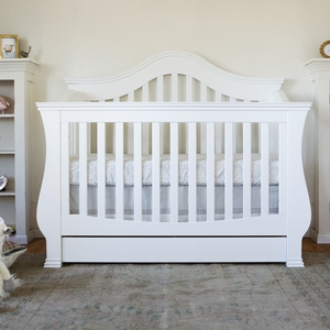 022CRB Convertible Crib w/ Storage Drawer in White - Finish: White<br><br>Available in Espresso & Manor Grey<br><br>Assembly Required<br><br>Dimensions: 59.125